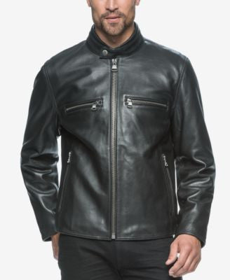 Marc New York Men's Bedford Luggage Leather Moto Jacket
