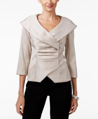 Alex Evenings Portrait-Collar Wrap Blouse