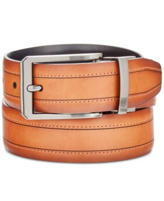 Ryan Seacrest Distinction Men's Feather-Edge Dress Belt, Only at Vogily