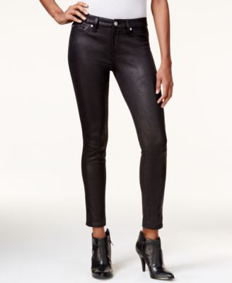 7 For All Mankind Coated Black Wash Ankle Skinny Jeans