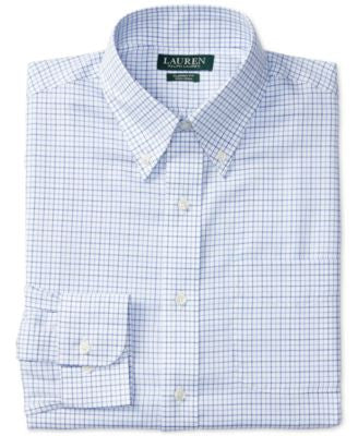 Lauren Ralph Lauren Men's Classic-Fit Non-Iron Blue and White Tattersall Check Dress Shirt