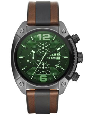 Diesel Men's Chronograph Overflow Brown Leather and Black Polyurethane Strap Watch 49x54mm DZ4414