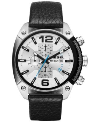 Diesel Men's Chronograph Overflow Black Leather Strap Watch 49x54mm DZ4413
