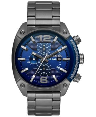 Diesel Men's Chronograph Overflow Gunmetal Stainless Steel Bracelet Watch 49x54mm DZ4412
