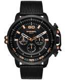 Diesel Men's Chronograph Deadeye Black Leather Strap Watch 51x56mm DZ4409