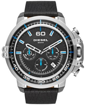 Diesel Men's Chronograph Deadeye Black Leather Strap Watch 51x56mm DZ4408