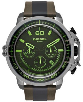 Diesel Men's Chronograph Deadeye Dark Brown Leather and Black Polyurethane Strap Watch 51x56mm DZ440