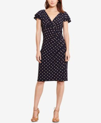 Lauren Ralph Lauren Petite Polka-Dot-Print Sheath Dress