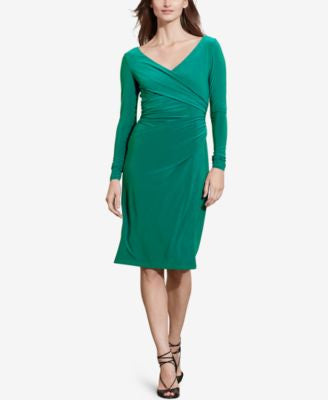 Lauren Ralph Lauren Ruched Jersey Surplice Dress