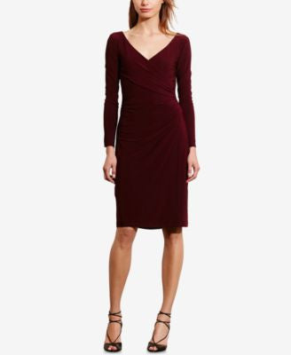 Lauren Ralph Lauren Petite Ruched Jersey Surplice Dress