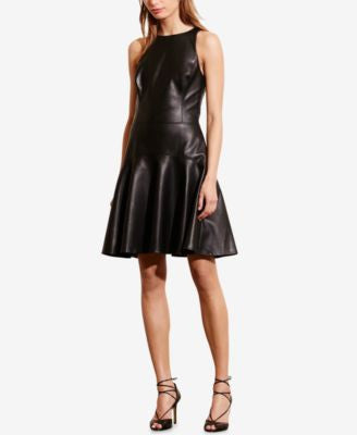 Lauren Ralph Lauren Faux-Leather Racerback Dress