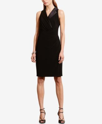Lauren Ralph Lauren Silk-Lapel Jersey Dress