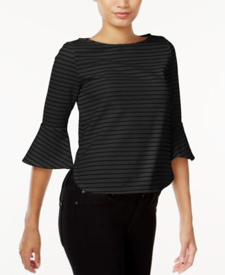 Bar III Striped Bell-Sleeve Top, Only at Vogily