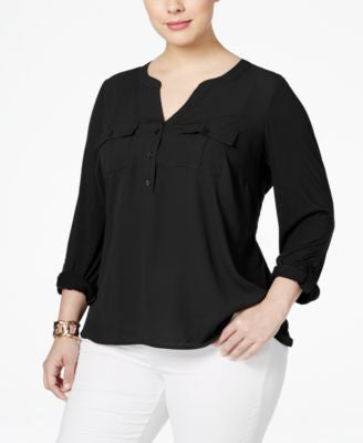 INC International Concepts Plus Size Mixed-Media Utility Blouse, Only at Vogily