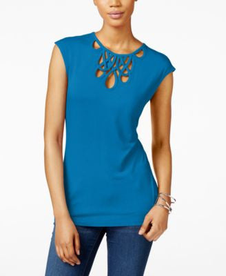 INC International Concepts Petite Cutout Top, Only at Vogily
