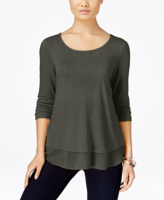 Style & Co. Petite Chiffon-Hem Top, Only at Vogily