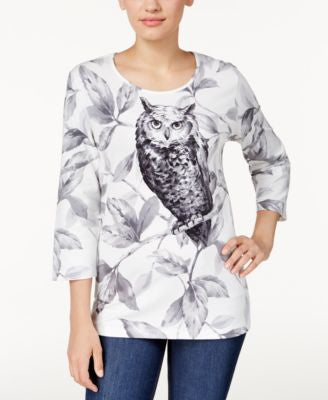 Alfred Dunner Owl-Print Top