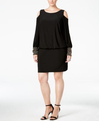 Xscape Plus Size Embellished Cold-Shoulder Dress