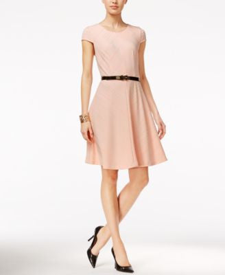 Tommy Hilfiger Rib-Knit Belted Fit & Flare Dress, Only at Vogily