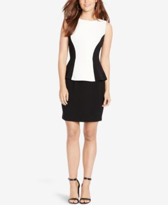 American Living Colorblocked Peplum Dress