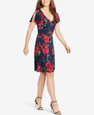American Living Flutter-Sleeve Floral-Print Dress