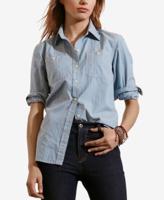 Lauren Ralph Lauren Petite Striped Dobby Shirt