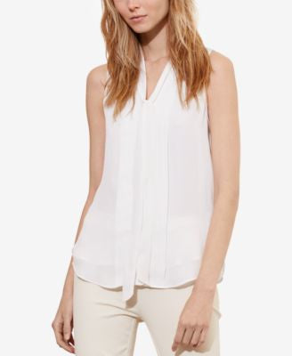Lauren Ralph Lauren Petite Pleated-Front Georgette Shirt