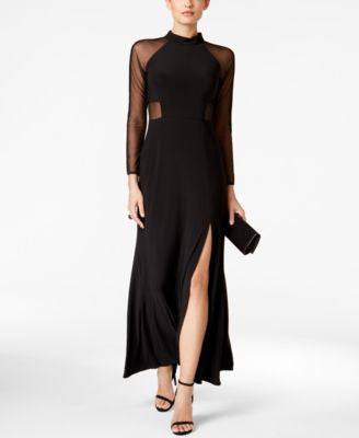 Nightway Illusion A-Line Gown
