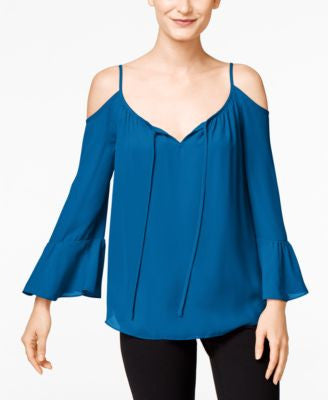 INC International Concepts Bell-Sleeve Cold-Shoulder Top, Only at Vogily