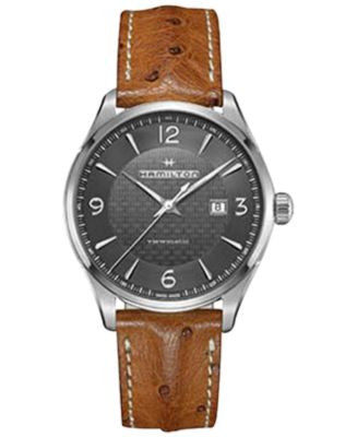 Hamilton Men's Swiss Automatic Jazzmaster Viewmatic Light Brown Ostrich Leather Strap Watch 44mm H32