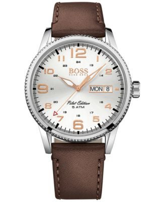 BOSS Men's Pilot Vintage Brown Leather Strap Watch 44mm 1513333