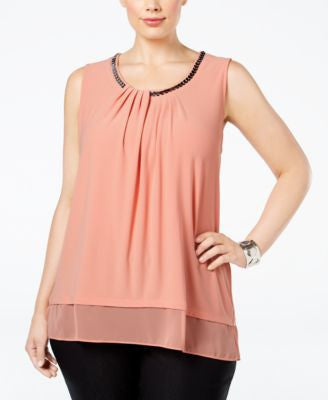 Alfani Plus Size Chain-Neck Layered Top, Only at Vogily