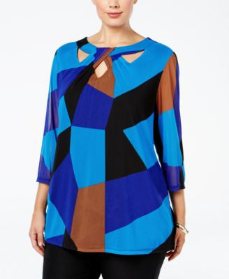 INC International Concepts Plus Size Colorblocked Cutout Tunic, Only at Vogily
