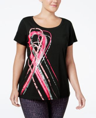 Ideology Plus Size Pink Ribbon Graphic T-Shirt, Only at Vogily