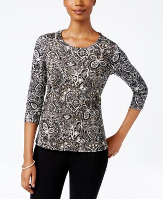 Charter Club Petite Paisley-Print Top, Only at Vogily