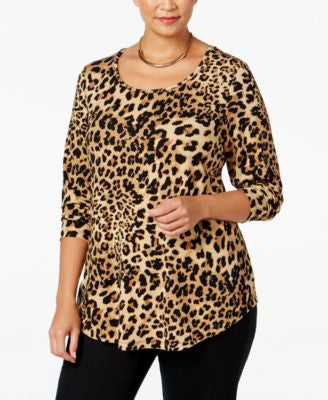 JM Collection Plus Size Printed Top, Only at Vogily