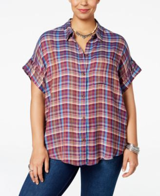 Lucky Brand Trendy Plus Size Plaid Oversized Shirt