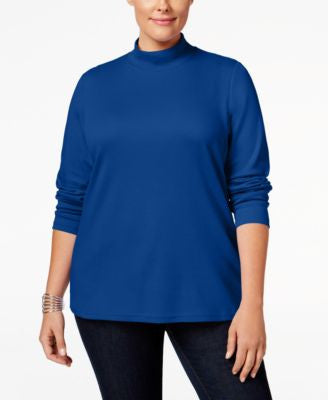 Karen Scott Plus Size Mock-Neck Top, Only at Vogily