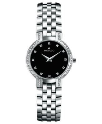 Movado Women's Swiss Faceto Stainless Steel Bracelet Watch 25mm 0605586
