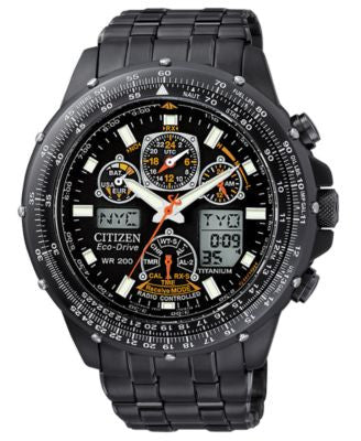 Citizen Men's Chronograph Eco-Drive Black Stainless Steel Bracelet Watch 45mm JY0005-50E