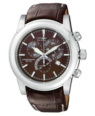 Citizen Men's Chronograph Eco-Drive Brown Leather Strap Watch 41mm AT0550-11X