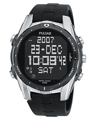 Pulsar Watch, Men's Chronograph Black Polyurethane Strap PQ2003