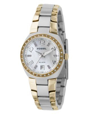 Fossil Women's Two Tone Stainless Steel Bracelet Watch AM4183