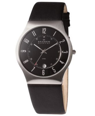 Skagen Watch, Men's Black Leather Strap 233XXLSLB