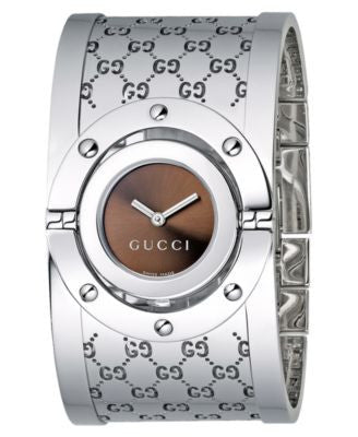 Gucci Watch, Women's Twirl Collection Stainless Steel Bangle Bracelet 23mm YA112401