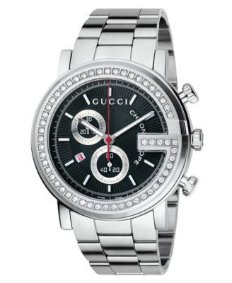 Gucci Watch, Unisex G Chrono Collection Stainless Steel Diamond Bezel Bracelet (3/4 ct. t.w.) 44mm Y