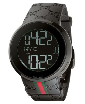 Gucci Watch, Unisex I-Gucci Collection Black Rubber Strap 44mm YA114207