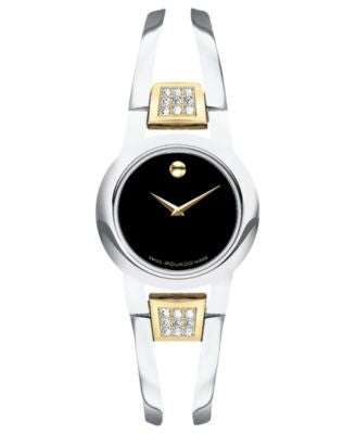 Movado Women's Swiss Amorosa Diamond (1/10 ct. t.w.) Two-Tone PVD Stainless Steel Bangle Bracelet Wa