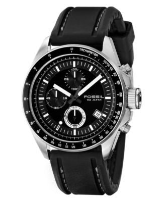 Fossil Men's Chronograph Decker Black Silicone Strap Watch 44mm CH2573