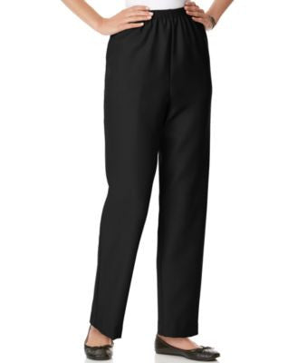 Alfred Dunner Petite Pants, Pull On Straight Leg